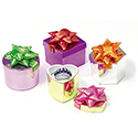 Assorted Shaped Hat Boxes - Shiny Foil, Solid Colors
