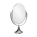 Double-Sided Chrome Oval Mirror - Round Base