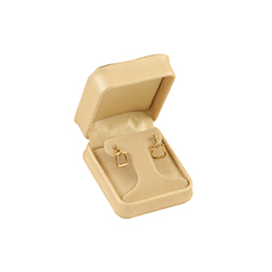 T-Earring Box - Deluxe Textured Jewelry Gift Boxes - Cream/Brown