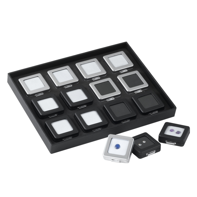 deluxe self locking gem display box silver medium
