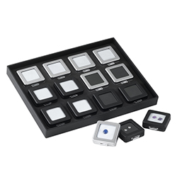 Stackable Display Half-Tray for Medium Self-Locking Gem Boxes
