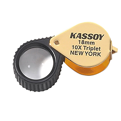Kassoy 10x Hastings Triplet Loupe with Rubber Grip - Gold