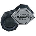 Kassoy 10x Hexagonal Xtra-Vue Triplet Loupe with Rubber Grip