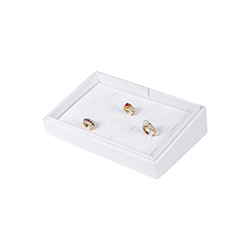 White Leatherette Stackable Jewelry Tray - 18 Ring Clips