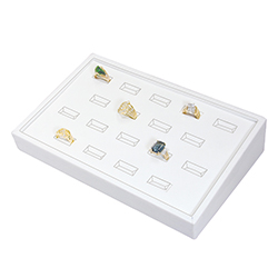 White Leatherette Stackable Jewelry Tray - 18 Ring Slots
