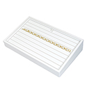 White Leatherette Stackable Jewelry Tray - 8 Bracelets