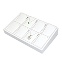 White Leatherette Stackable Jewelry Tray - 8 Pendants