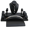 Display Set: Rings, Earrings, Necklace - Black Leatherette