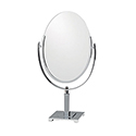 Double-Sided Chrome Oval Mirror - Square Base