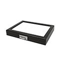 "Glass Top Gem Display Box - Black - 7 1/8"" x 8 1/2"""