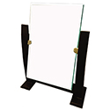 One Sided Rectangular Mirror with Darkwood Stand