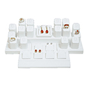 Display Set: 16 Ring, 7 Earring Pairs - White Leatherette