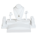 Display Set: Rings, Earrings, Necklace - White Leatherette