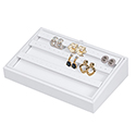 White Leatherette Stackable Jewelry Tray - 24 Pair Earrings