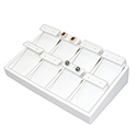 White Leatherette Stackable Jewelry Tray - 8 Pair Earrings